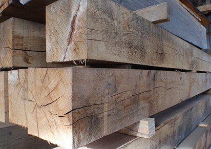 Cut to size air dried oak beams