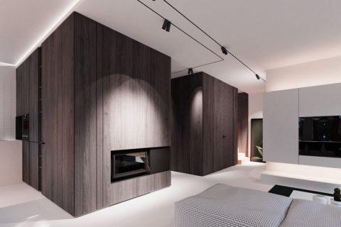 Dark, wood-clad walls