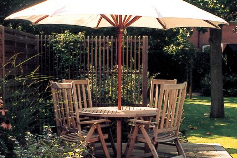 A outdoor timber table and chairs